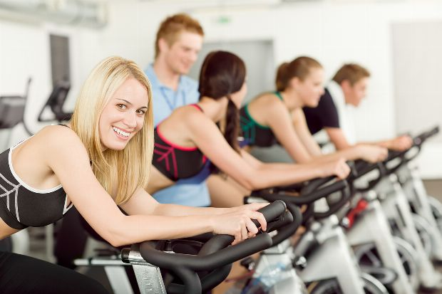 Trainingsgruppe beim Spinning